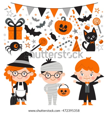 Vector set of characters and icons for Halloween in cartoon style. Pumpkin, spider, candy, black cat and other traditional elements of Halloween. Children in costumes for Halloween.