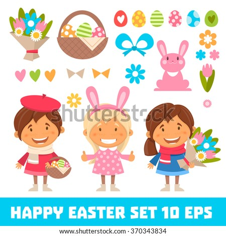 Vector set of characters and icons on the Easter theme in cartoon style. Cute and funny girls on Easter costumes. Traditional Easter Icons. 10eps - stock vector