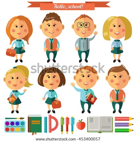 Vector set of characters and school icons in flat style. Student with a book. School theme icons. Pencils, books, rulers, brush, paints.