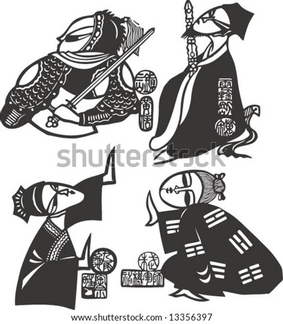 Vector set of characters in a famous Classic Chinese Novel, Tale of Water Margin - stock vector