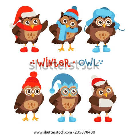 Vector set of characters owls in a cartoon style. Owls in different winter hats and boots. - stock vector