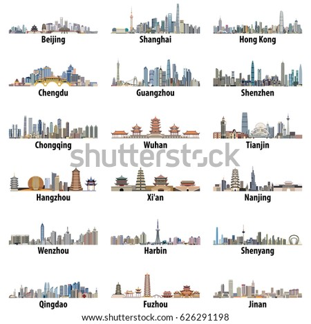 vector set of chinese largest city skylines