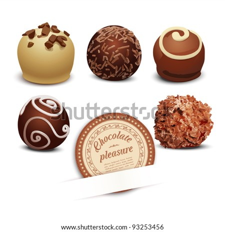 vector set of chocolate on a white background - stock vector