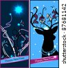 vector set of Christmas and New Year's  cards with a magic deer and christmas decoration. eps10 - stock vector
