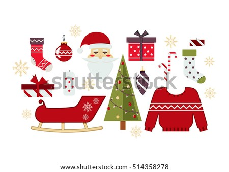 Vector Set of Christmas and New Year Symbols, Elements and Decoration.