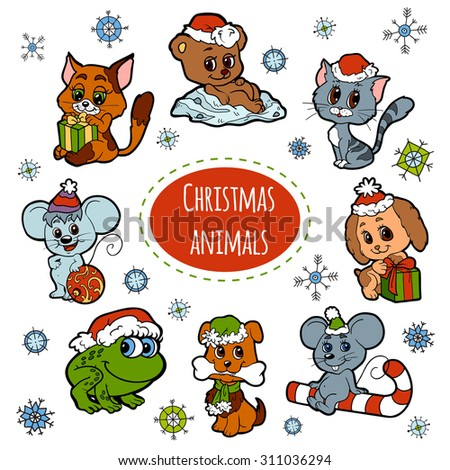 Vector set of Christmas cute animals, color cartoon collection, colorful stickers with little animals - stock vector