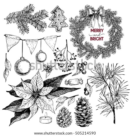 Vector set of Christmas objects. Hand drawn vintage style. Xmas Icons. Wreath, lettering, pine tree branch, fir, pinecone, poinsettia, candle, berries, bow, cookies, holly, candy.