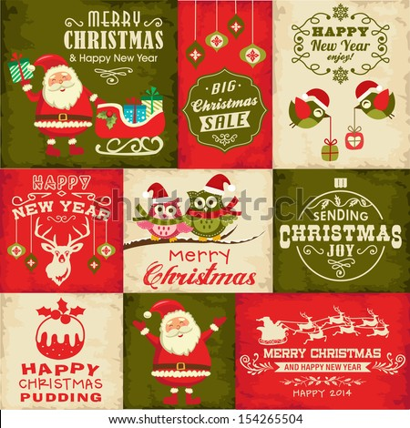 Vector set of Christmas symbols - stock vector