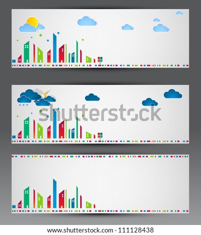 Vector set of city banners - stock vector