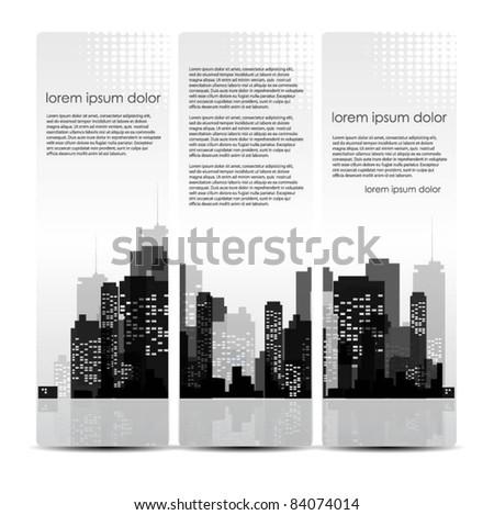 vector set of city header design - stock vector