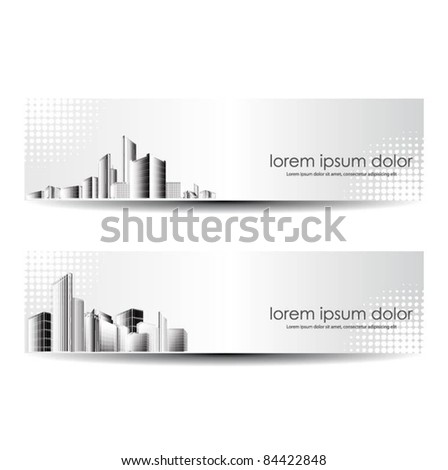 vector set of city header design - stock vector