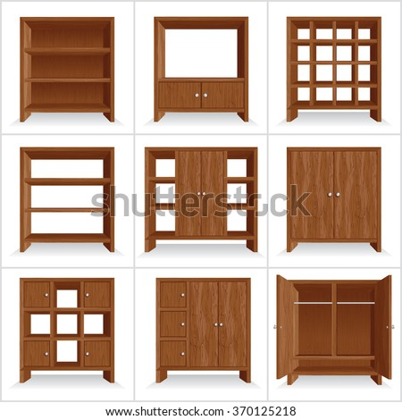 Vector Set of Classic Wooden Furniture. Wardrobe Collection - stock vector