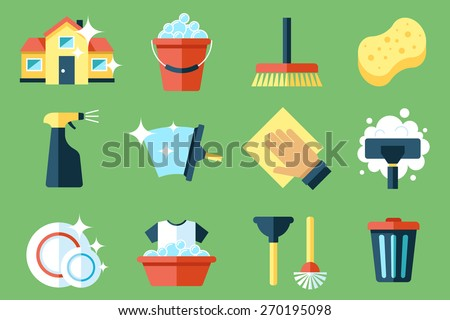 Vector set of cleaning tools. Flat design style. - stock vector