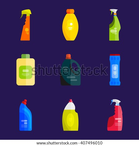 Vector set of cleaning tools. Flat design style. Cleaning supplies isolated. Cleaning bottles, Stuff for cleaning room and house. Cleaning concept. Set of cleaning products. - stock vector