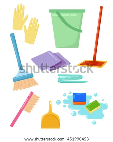 Vector set of cleaning tools. Household supplies Cleaning, washing. ironing. Graphic concept for web sites, web banner, web and mobile apps, infographics.