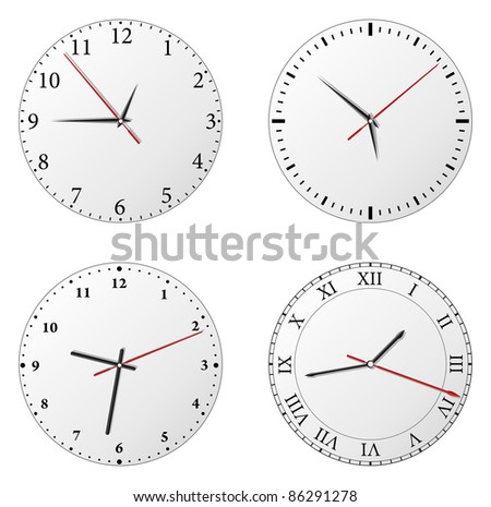 Vector set of clocks on white background - stock vector
