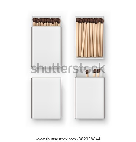 Vector Set of Closed Opened Blank Boxes Of Brown Matches Top View Isolated on White Background