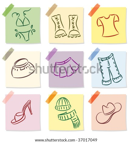 vector set of clothes icon on note paper - stock vector
