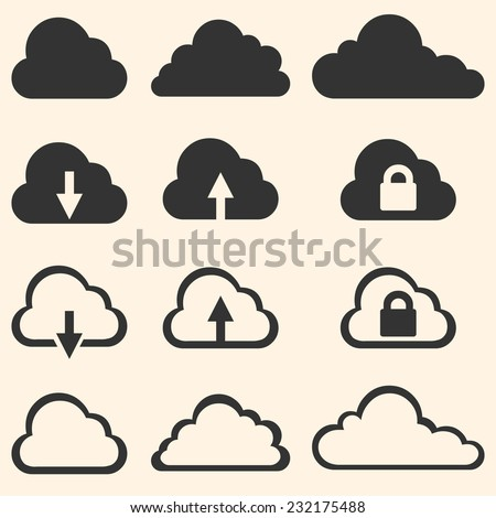 Vector Set of Cloud Icons - stock vector