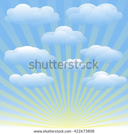 Vector set of clouds, blue sky, sunrays. Transparent gradient vector background for booklets, brochures, fliers, websites, banners. Cloudy weather, sunny summer day - stock vector