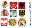 vector set of coats of arms of the world - stock photo