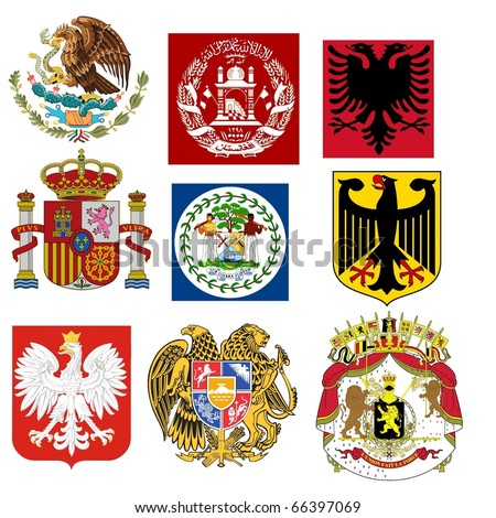 vector set of coats of arms of the world - stock vector