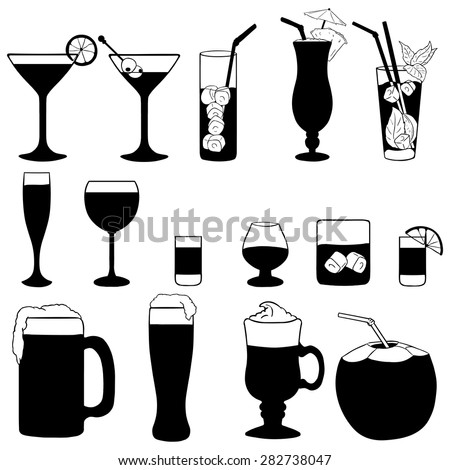 Vector Set of Cocktails and Alcohol Drinks. Black and White Illustration.