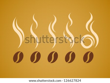 Vector set of coffee beans with steam on abstract canvas background - stock vector