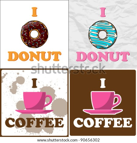 Vector set of coffee-cup and donut illustrations. - stock vector
