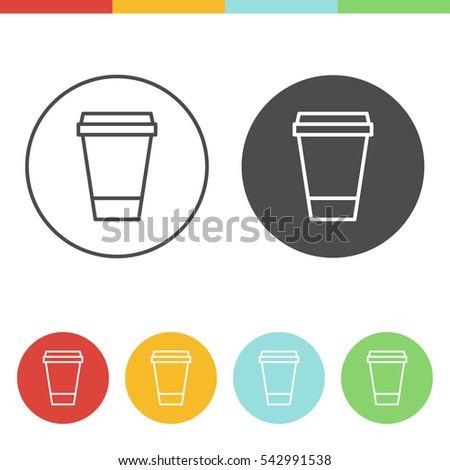 Vector set of coffee cup icons in thin line style