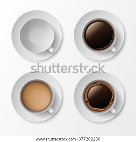 Vector Set of Coffee Cup Mug with Crema Foam Bubbles Top View Isolated On White Background - stock vector
