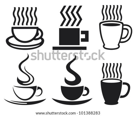 vector set of coffee cups and mugs icons