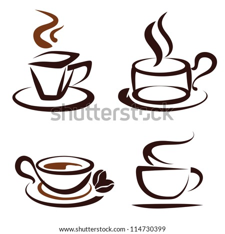 vector set of coffee cups icons, stylized sketch symbols