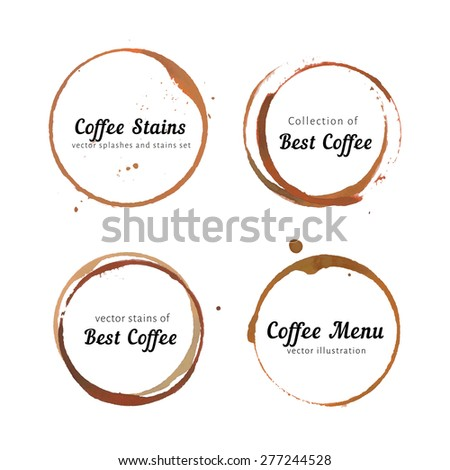 Vector set of coffee stain logo. Circles, splashes and spot isolated on white background with space for your text. Watercolor hand drawing cup marks. - stock vector