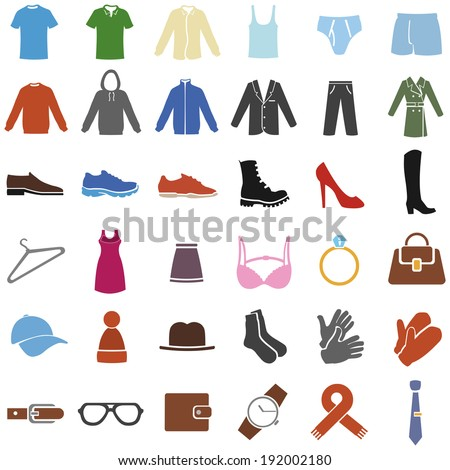 Vector Set of Color Clothes Icons - stock vector