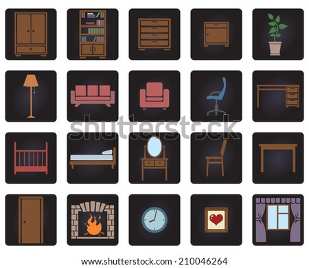 Vector Set of Color Furniture Icons on Black Squares - stock vector