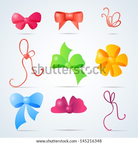 Vector set of color gift bows with ribbons - stock vector