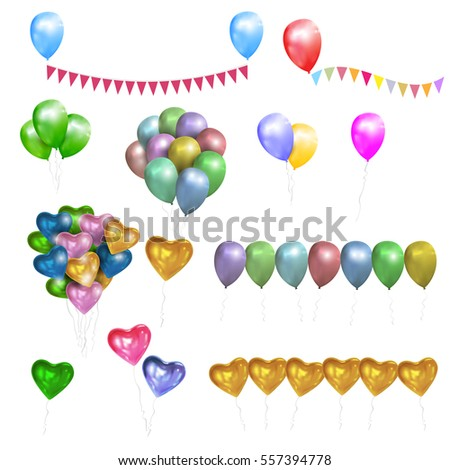 Vector set of color glossy Balloons,Hearts and bunting flags. Design elements for party, birthday, Valentine day