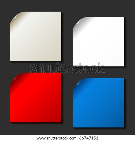 Vector set of color papers with curled corner - stock vector