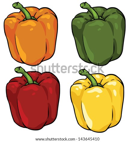 vector set of color paprika - stock vector