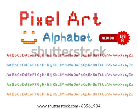 Vector set of color pixel art alphabets