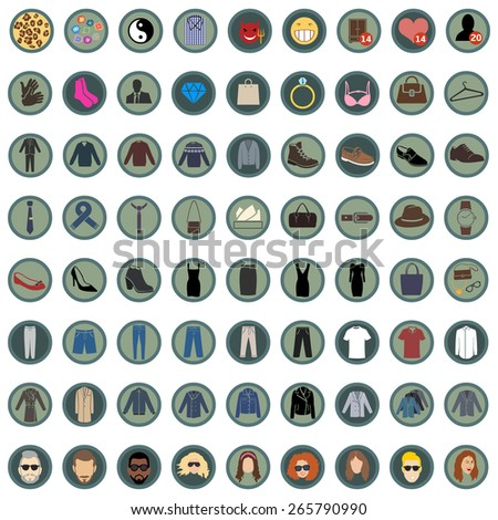 Vector Set of 49  Color Round Clothes Icons. Mens and Womens Fashion. Casual, Sport, Bussines and Evening Wear. Footwear. Clothes. Accessories. Overcoat. - stock vector