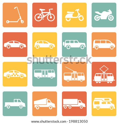 Vector Set of Color Square Ground Transportation Icons - stock vector