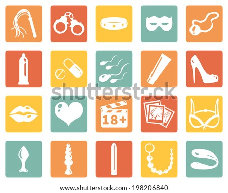 Vector Set of Color Square Sex Shop Icons - stock vector