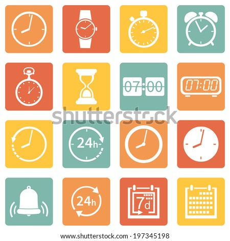 Vector Set of Color Square  Time Icons
