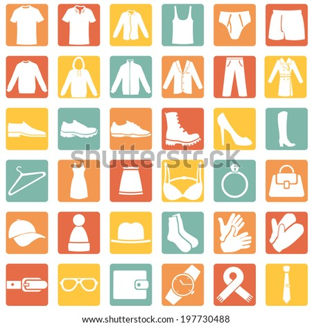 Vector Set of Color Square Wear Icons - stock vector