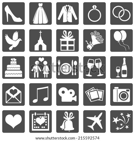 Vector Set of Color Square Wedding Icons - stock vector