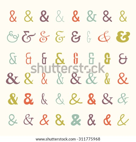 Vector set of colored ampersands icons. Symbols from different fonts. For letters and wedding invitation - stock vector