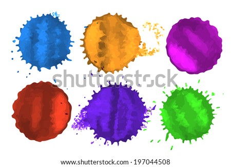 Vector set of colored blots and spots on white background - stock vector