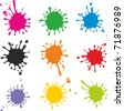 Vector set of colored blots on the white background - stock